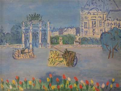 Jean Dufy Oil on Canvas Tuileries Palace