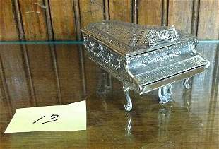 REPOUSSE SILVER FIGURAL BABY GRAND PIANO RING JAR
