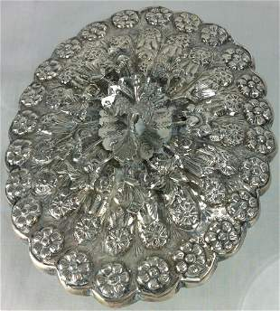 MAGNIFICENT OVAL SILVER PEACOCK MIRROR