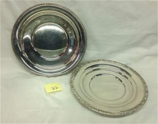 2 ROUND STERLING SILVER SERVING PLATES