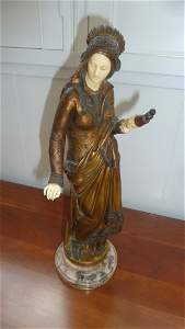 """BRONZE AND IVORY """"""""LA FILEUSE""""  A CARRIER-BELLEUSE"""