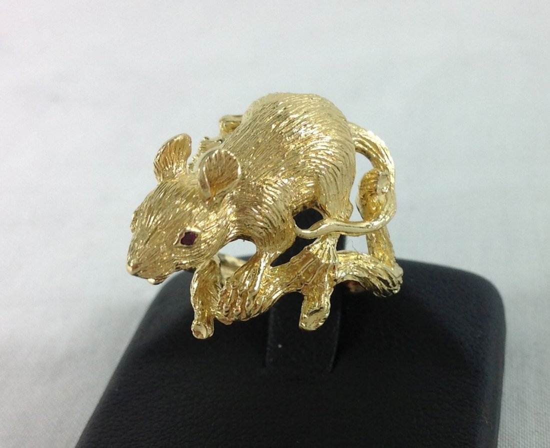 18KT   YELLOW GOLD  CUSTOM DESIGNED RAT RING [8.7dwt]