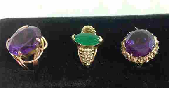 LOT OF 3 14KT YELLOW GOLD LADIES RINGS [12.7dwt]