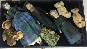 GROUP OF 7 DOLLS AND ANIMALS