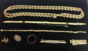 GROUP OF 8 PCS 14KT GOLD JEWELRY [32.9dwt]