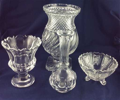 4 German Hand Cut Lead Crystal Vases And Bowls