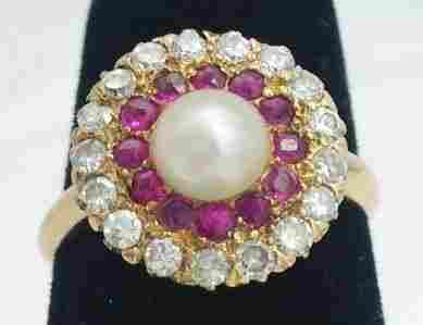 Ladies 14K Yellow Gold Pearl, Ruby & Diamond Ring