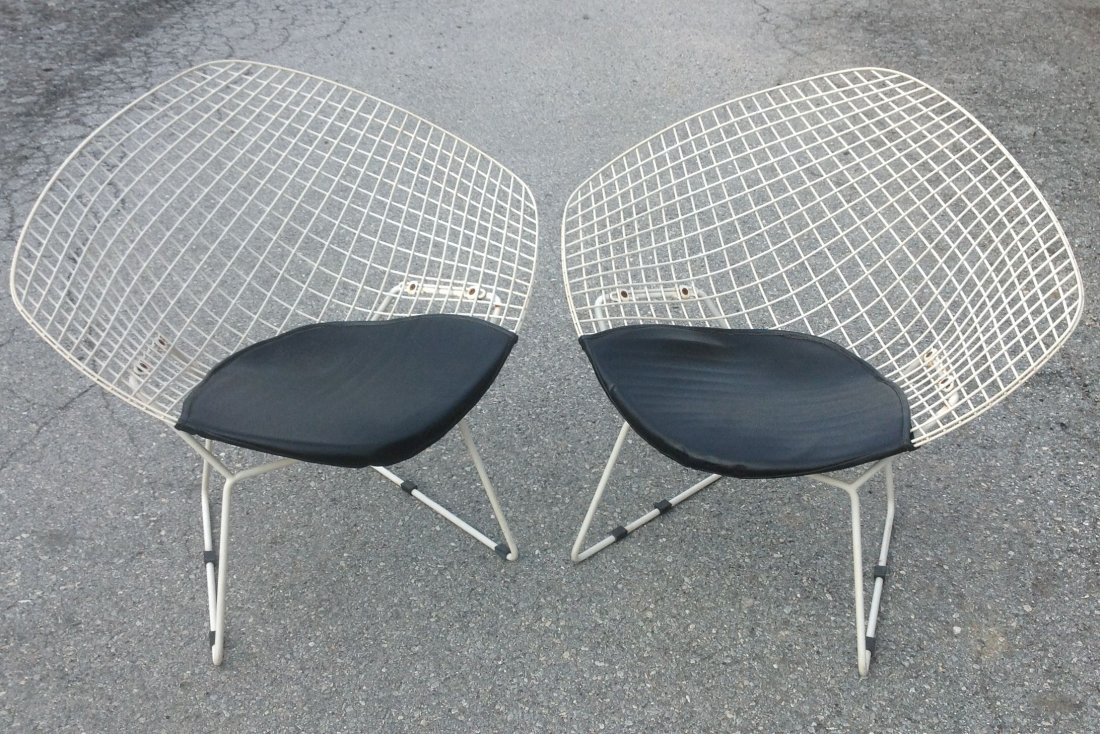 Pair of Bertoia Wire Diamond Chairs