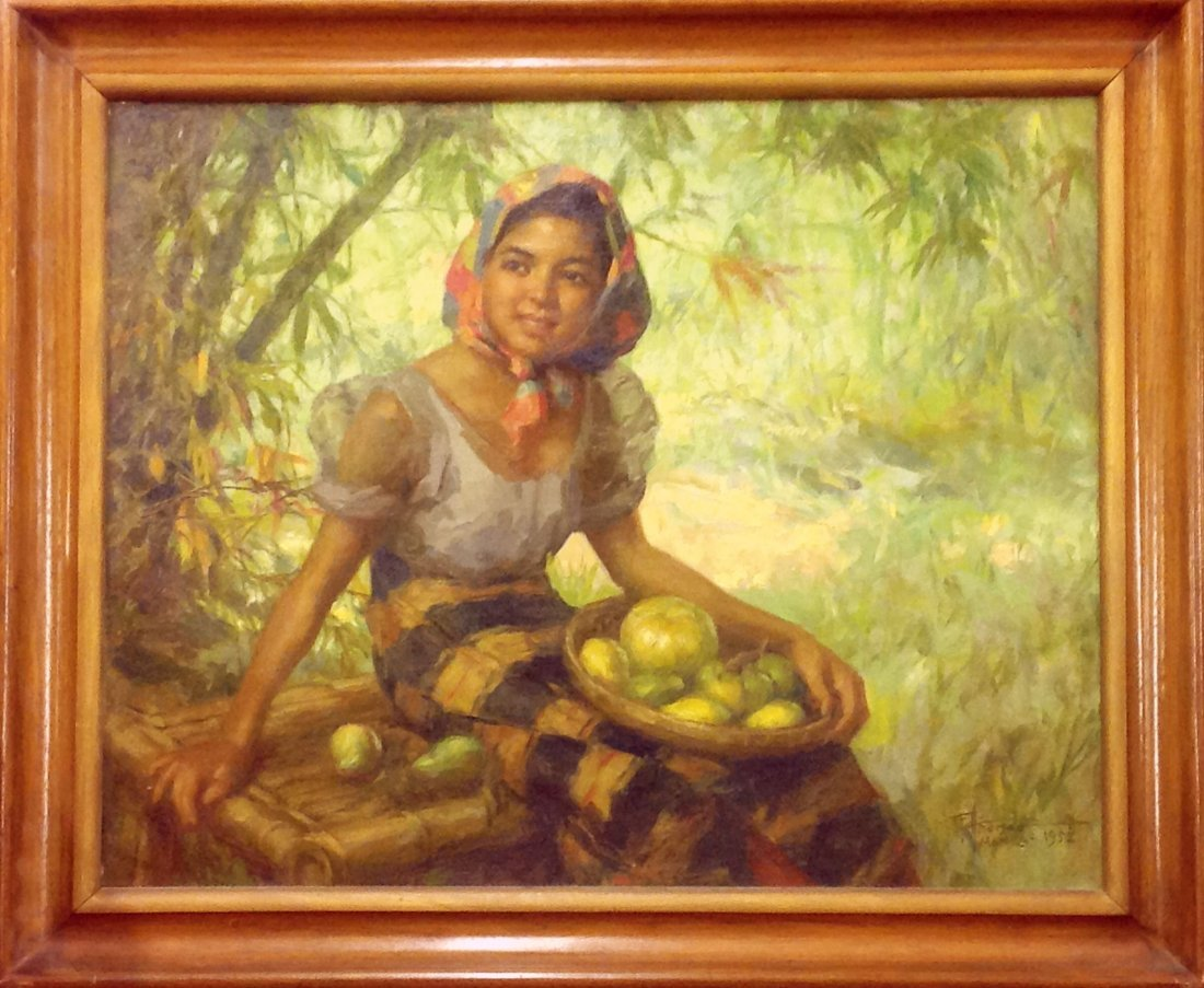 Fernando Amorsolo Oil on Canvas Mango Vendor Girl 1952