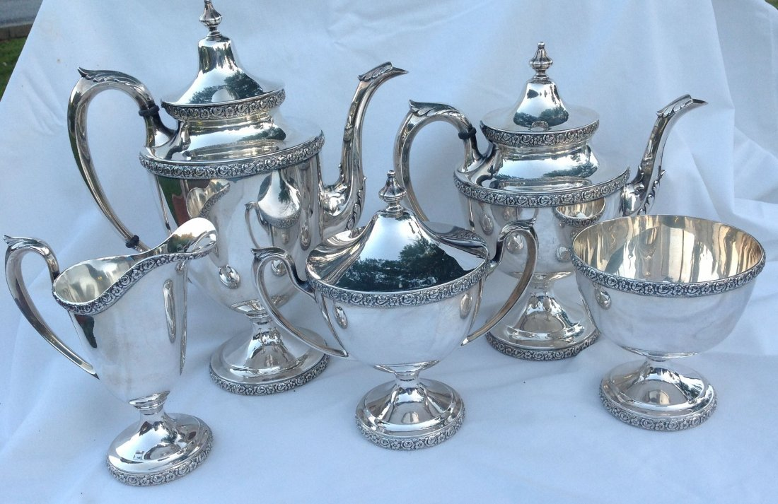 5 pc Manchester Sterling Silver Tea Set