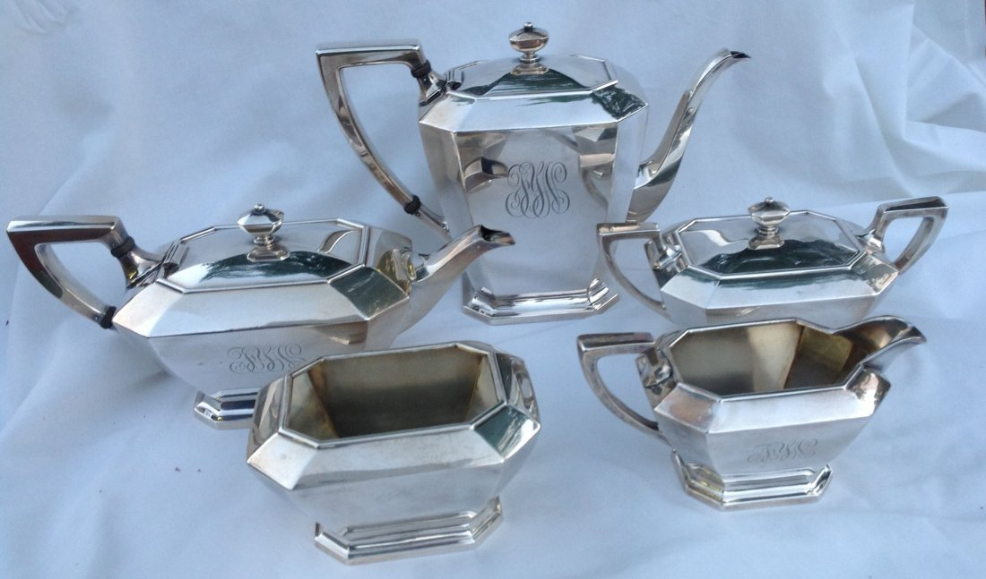 5 pc Gorham Sterling Silver Tea Set Fairfax Pattern &