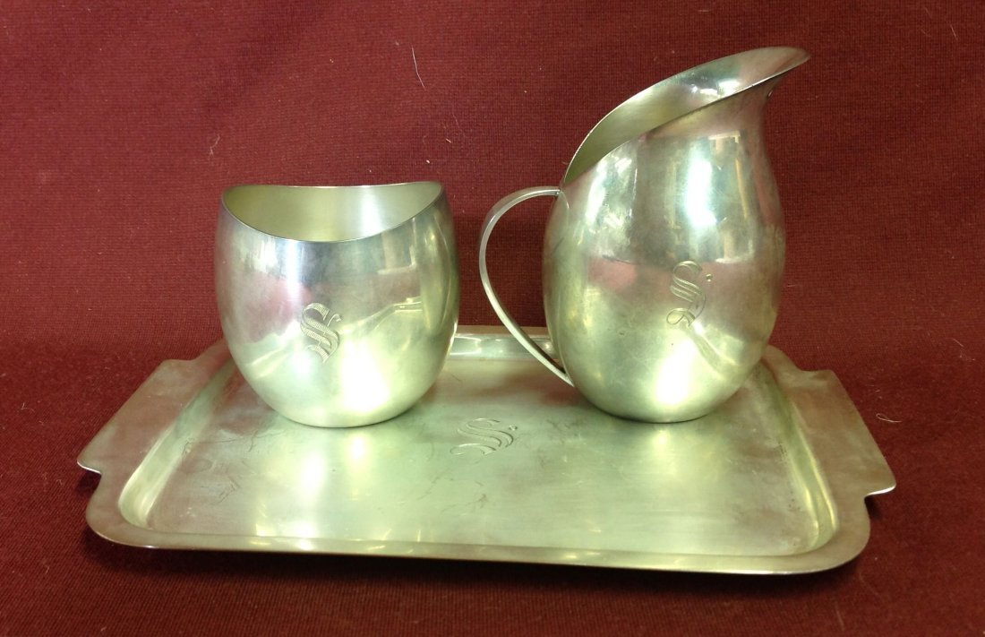 Sterling Silver Cream & Sugar Set w/ Tray