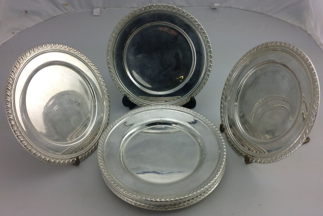 Group of 12 Sterling Silver Bread Plates