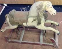 Early Folk Art Painted Rocking Horse Swing Glider