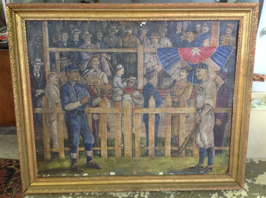Oil on Canvas Painting Early Baseball Scene