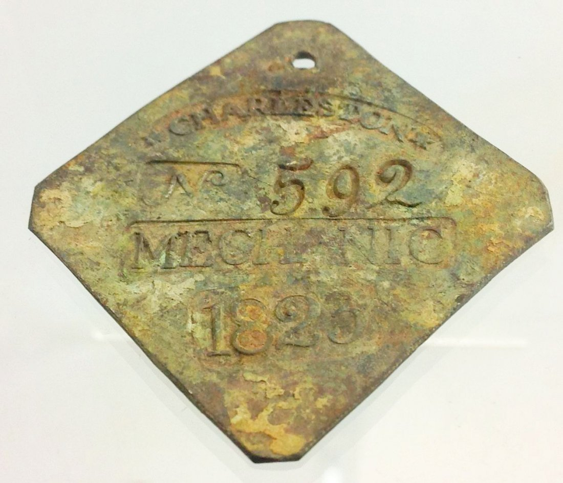 1823 Charleston Slave Hire Tag Badge, Mechanic #592
