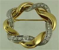 Ladies 18K Gold Platinum & Diamond Circle Pin Brooch
