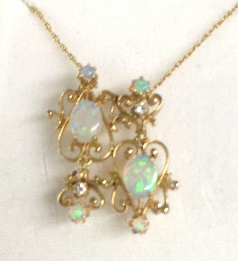 Ladies 14K Gold Necklace Filigree Diamond Opal Pendant