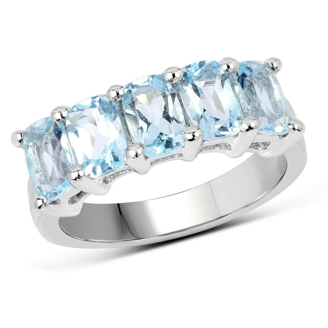 3.00 ctw Genuine Blue Topaz .925 Sterling Silver Ring