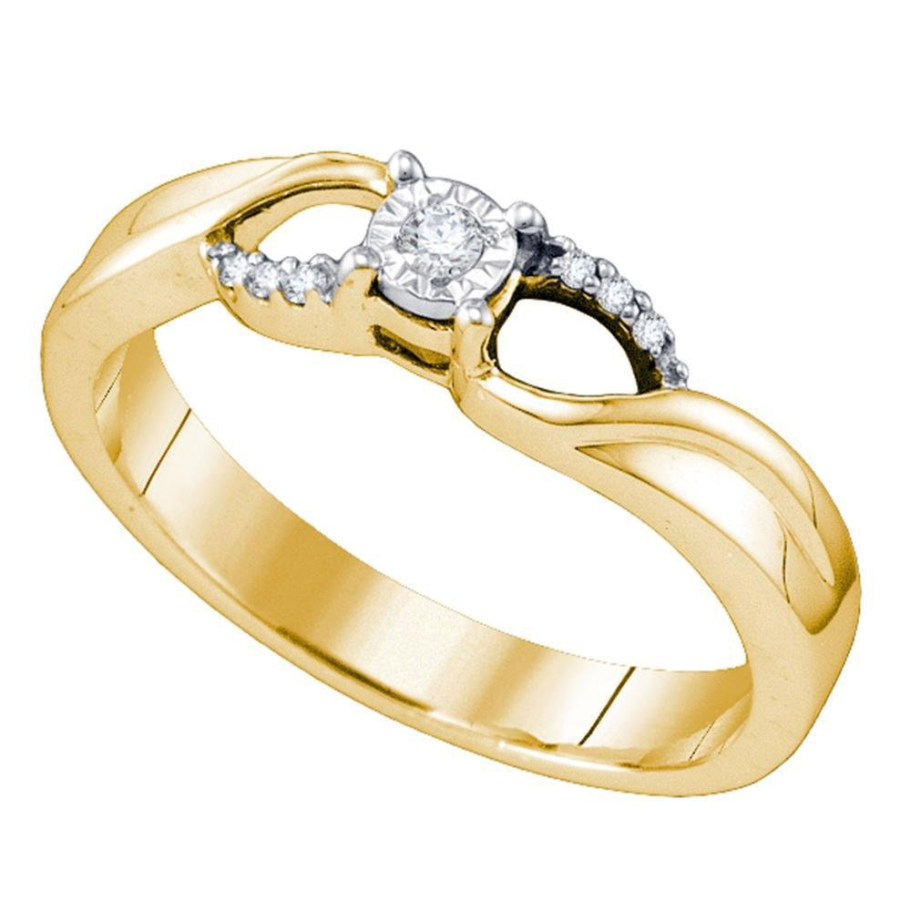 Sterling Silver Round Diamond Band Promise Bridal