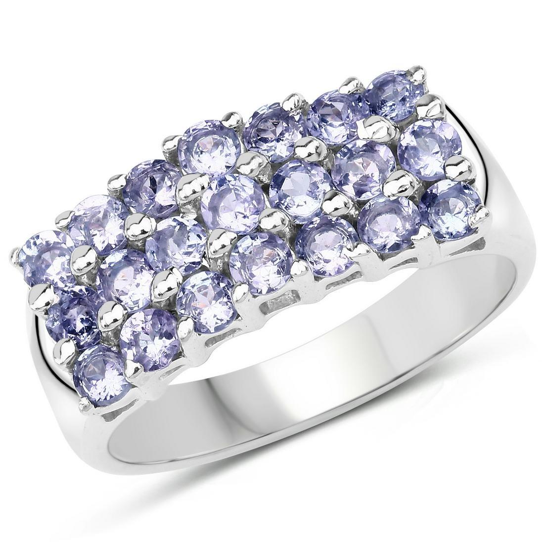 1.47 ctw Genuine Tanzanite .925 Sterling Silver Ring