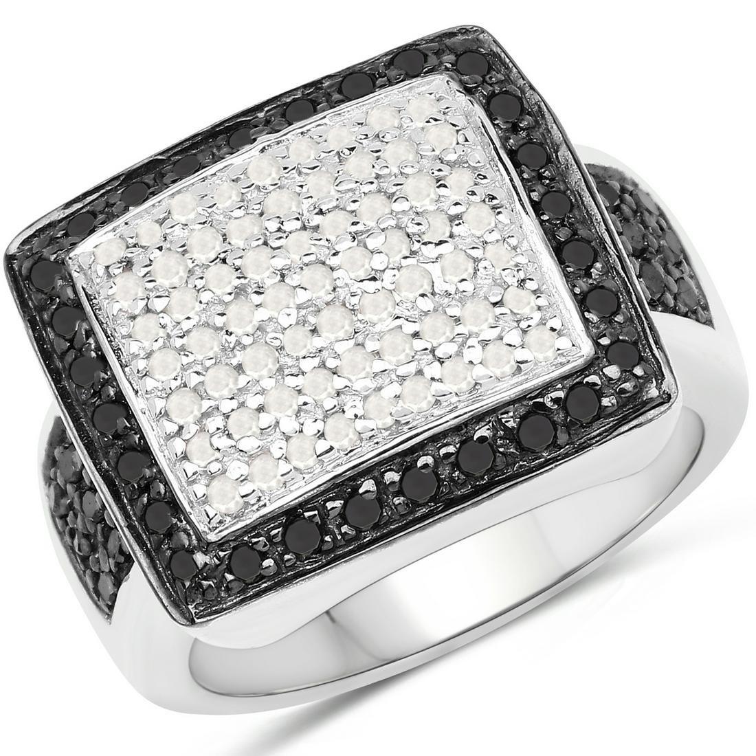 0.61 ctw Genuine Black Diamond and White Diamond .925