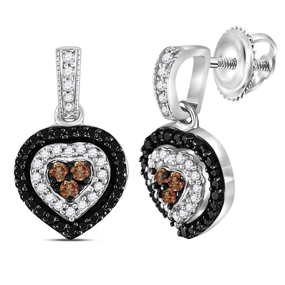 Sterling Silver Round Black Color Enhanced Diamond