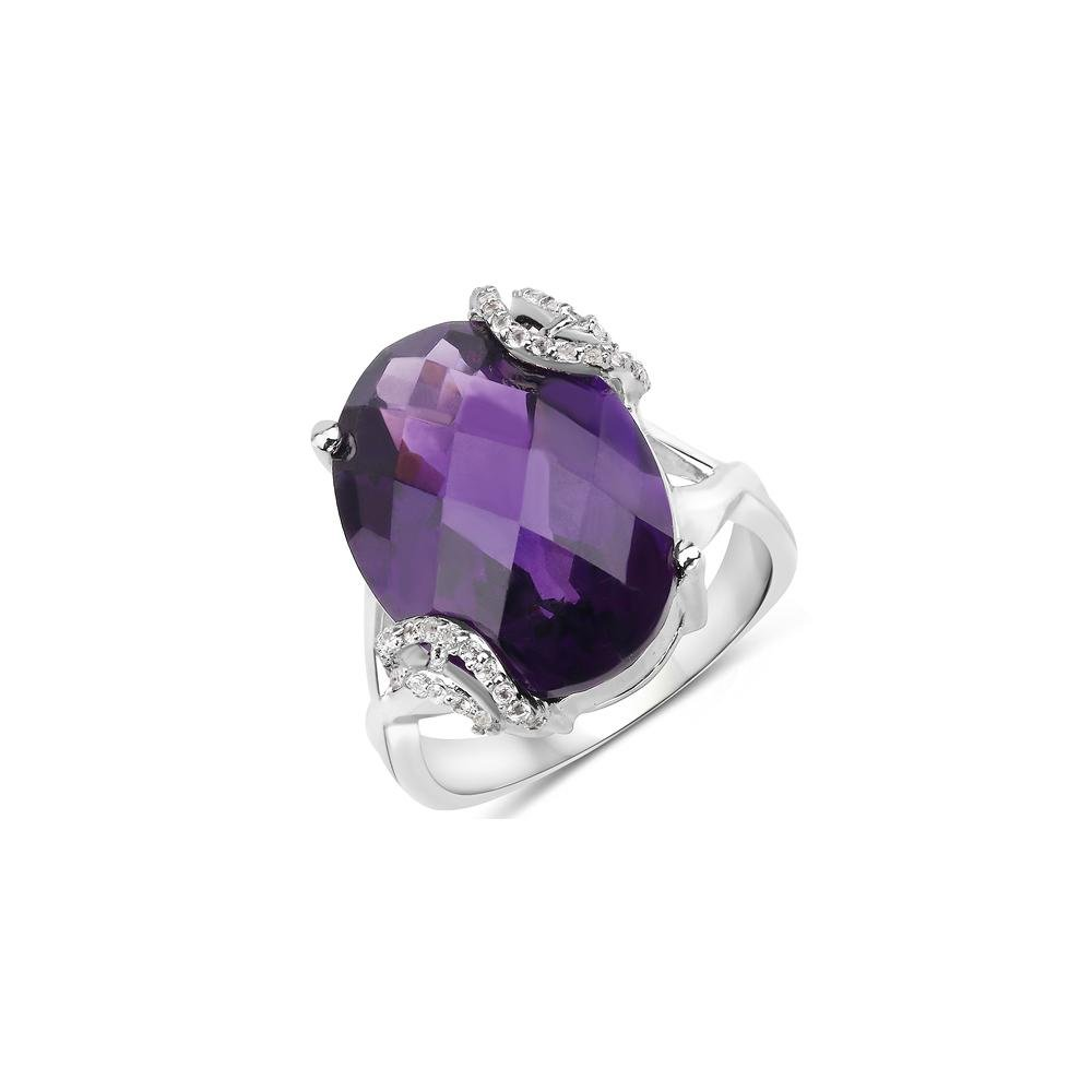 8.18 ctw Genuine Amethyst and White Topaz .925 Sterling
