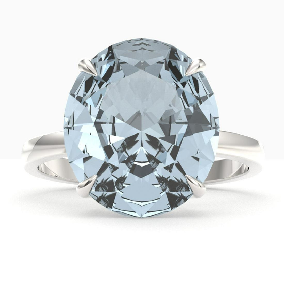 9 ctw Sky Blue Topaz Ring 18K White Gold