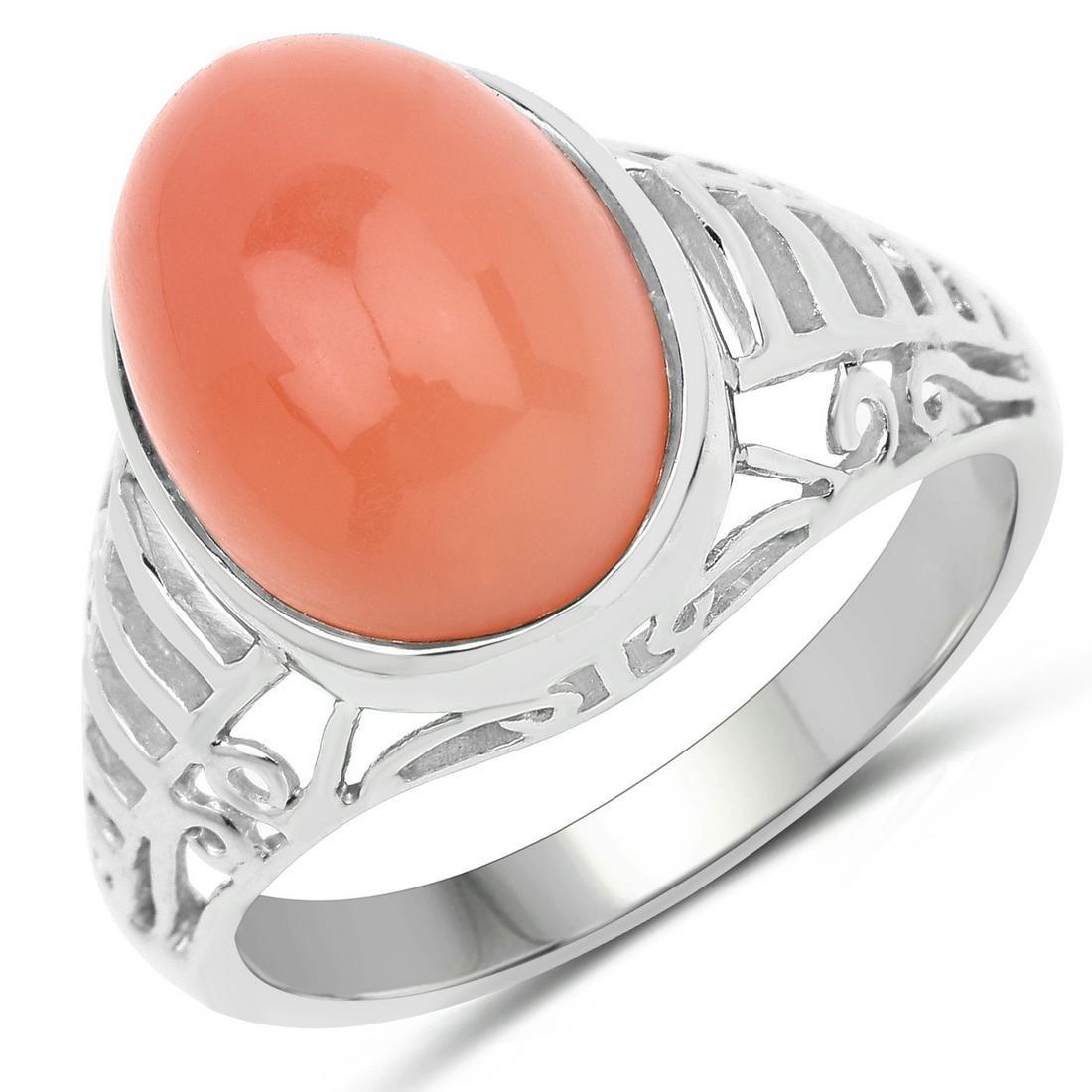 6.00 ctw Genuine Peach Moonstone .925 Sterling Silver