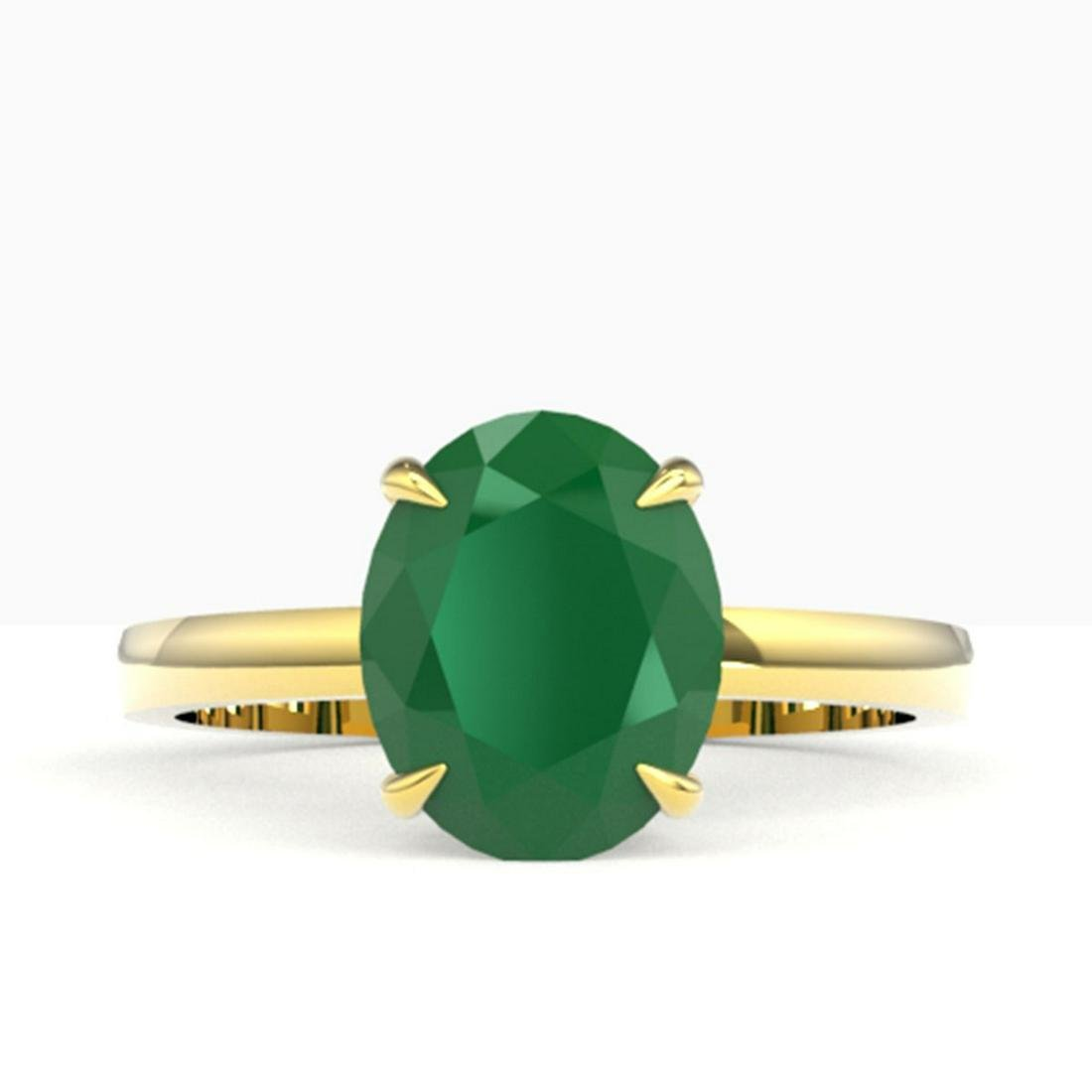 3.50 ctw Emerald Solitaire Ring 18K Yellow Gold