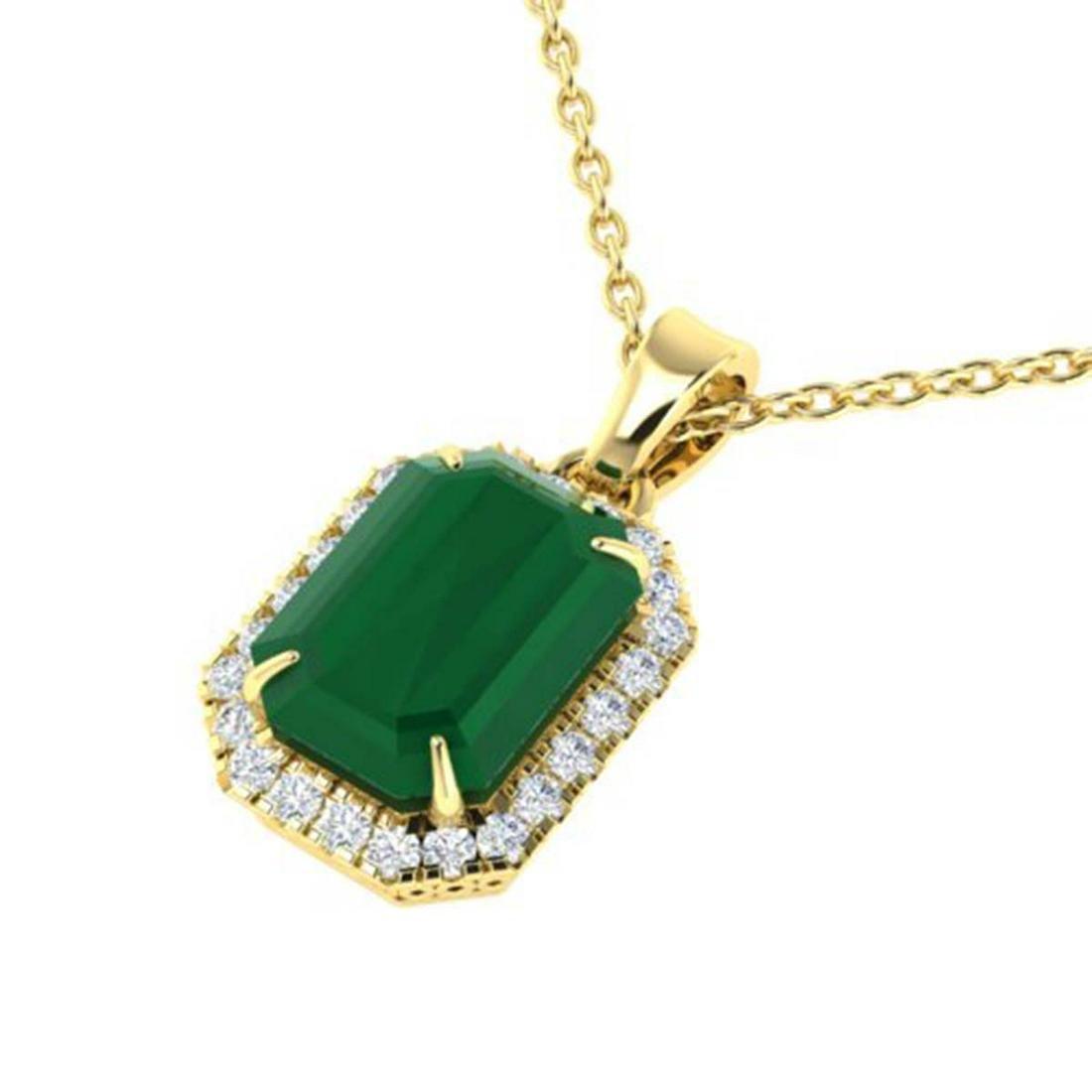 5.50 ctw Emerald & VS/SI Diamond Necklace 18K Yellow