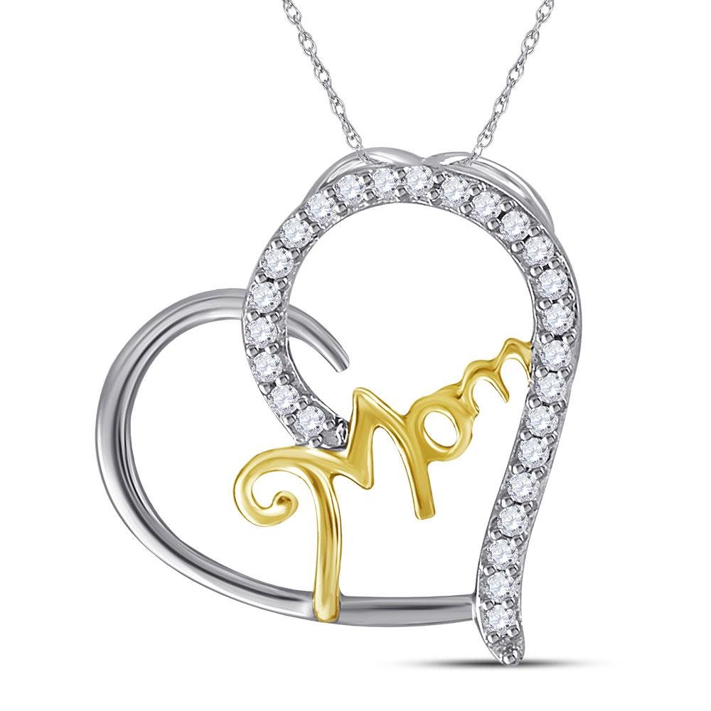 Sterling Silver Two-tone Round Diamond Mom Heart