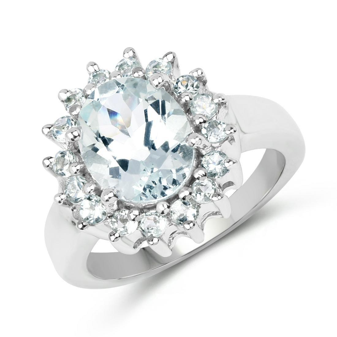 2.73 ctw Genuine Aquamarine .925 Sterling Silver Ring