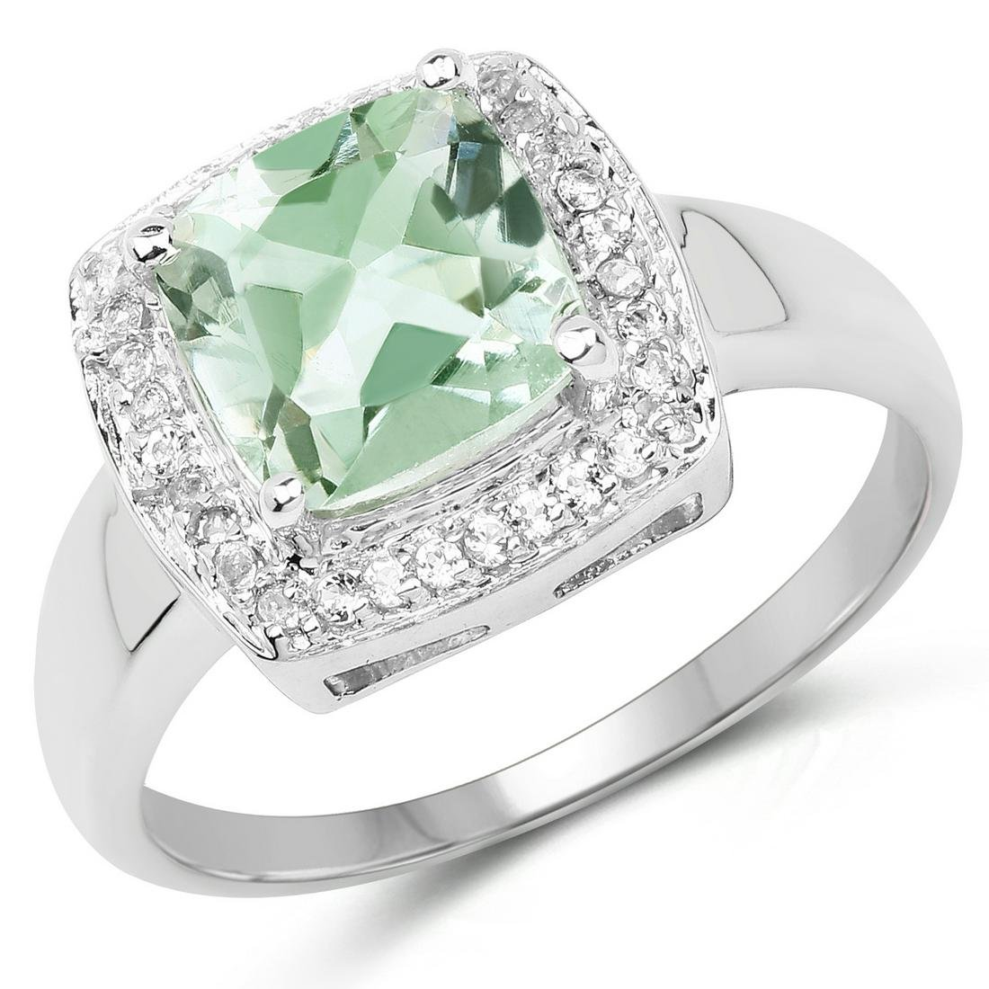 2.31 ctw Genuine Green Amethyst and White Topaz .925