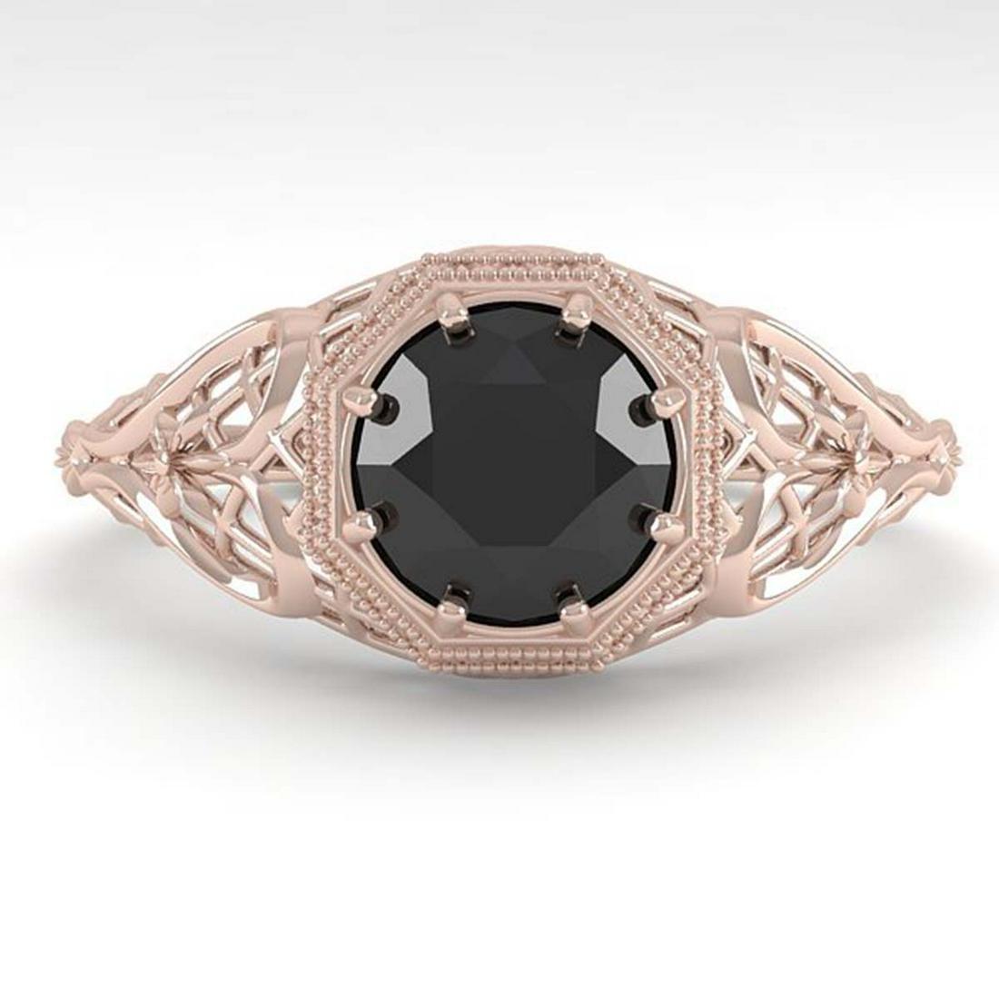 1.0 ctw Black Diamond Ring Art Deco 14K Rose Gold