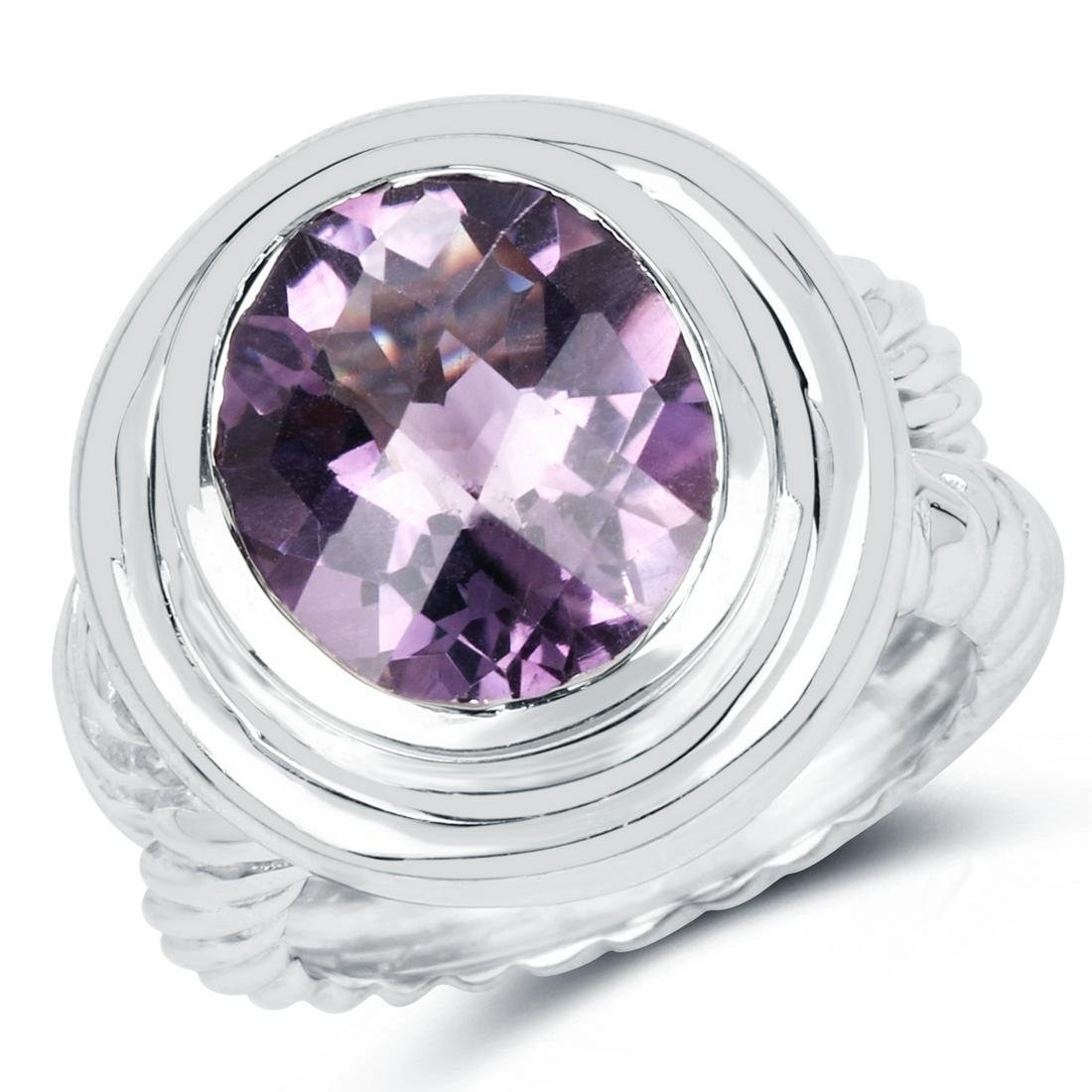 6.92 ctw Genuine Amethyst .925 Sterling Silver Ring