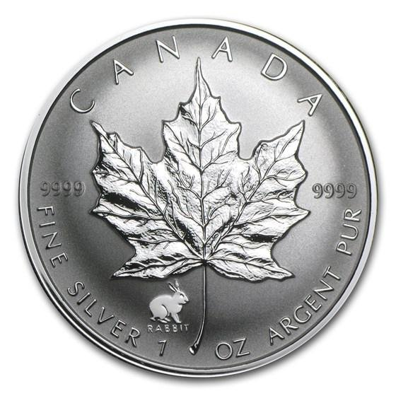 1999 Canada 1 oz Silver Maple Leaf Lunar Rabbit Privy