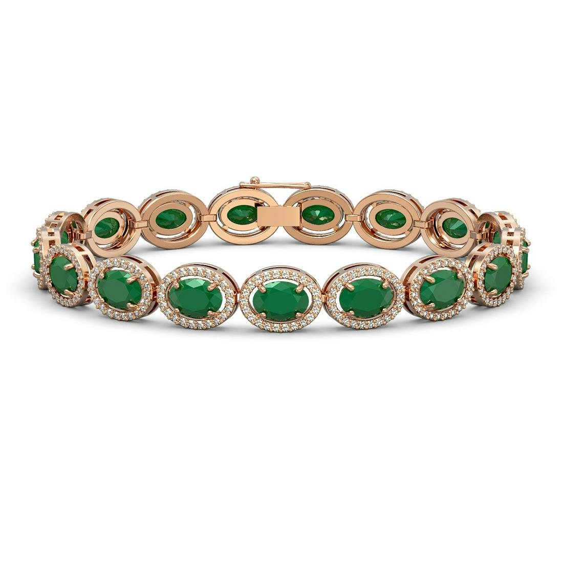 22.89 ctw Emerald & Diamond Halo Bracelet 10K Rose Gold
