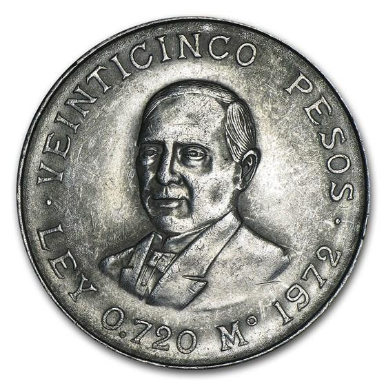 1972 Mexican Silver 25 Pesos Juarez AU/BU (ASW .5209)