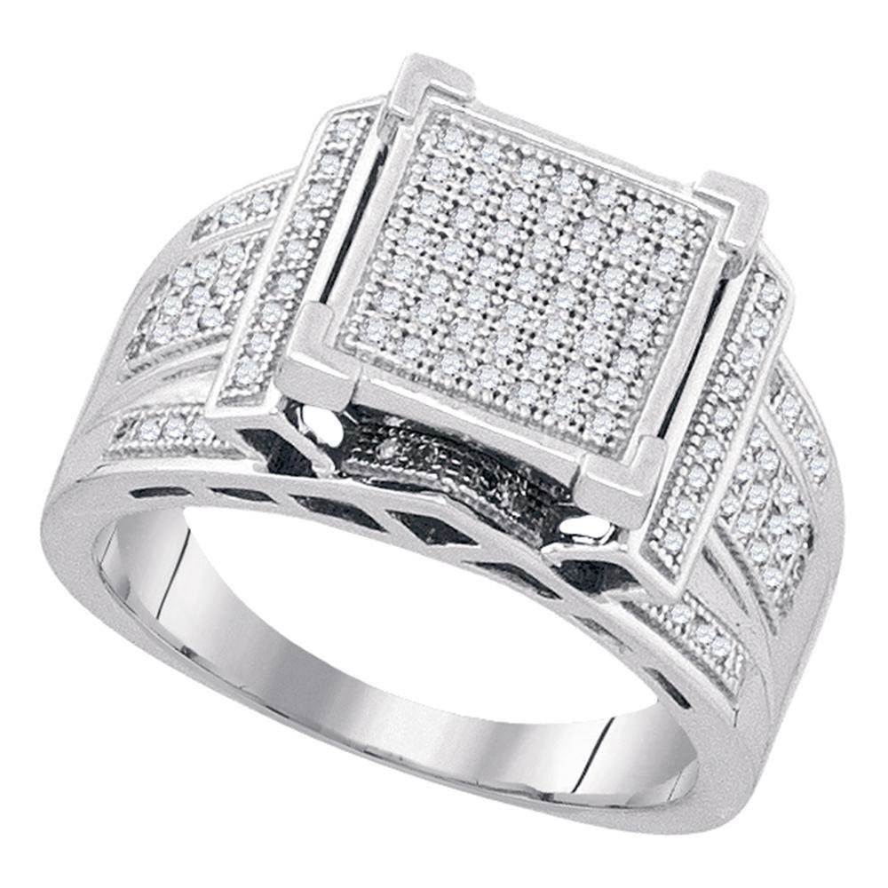 Sterling Silver Round Diamond Square Cluster Ring 3/8
