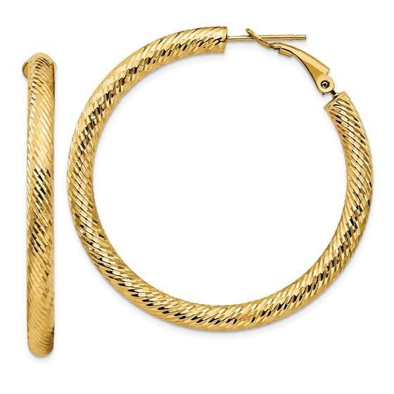 14k Yellow Gold Diamond-cut Omega Back Hoop Earrings -
