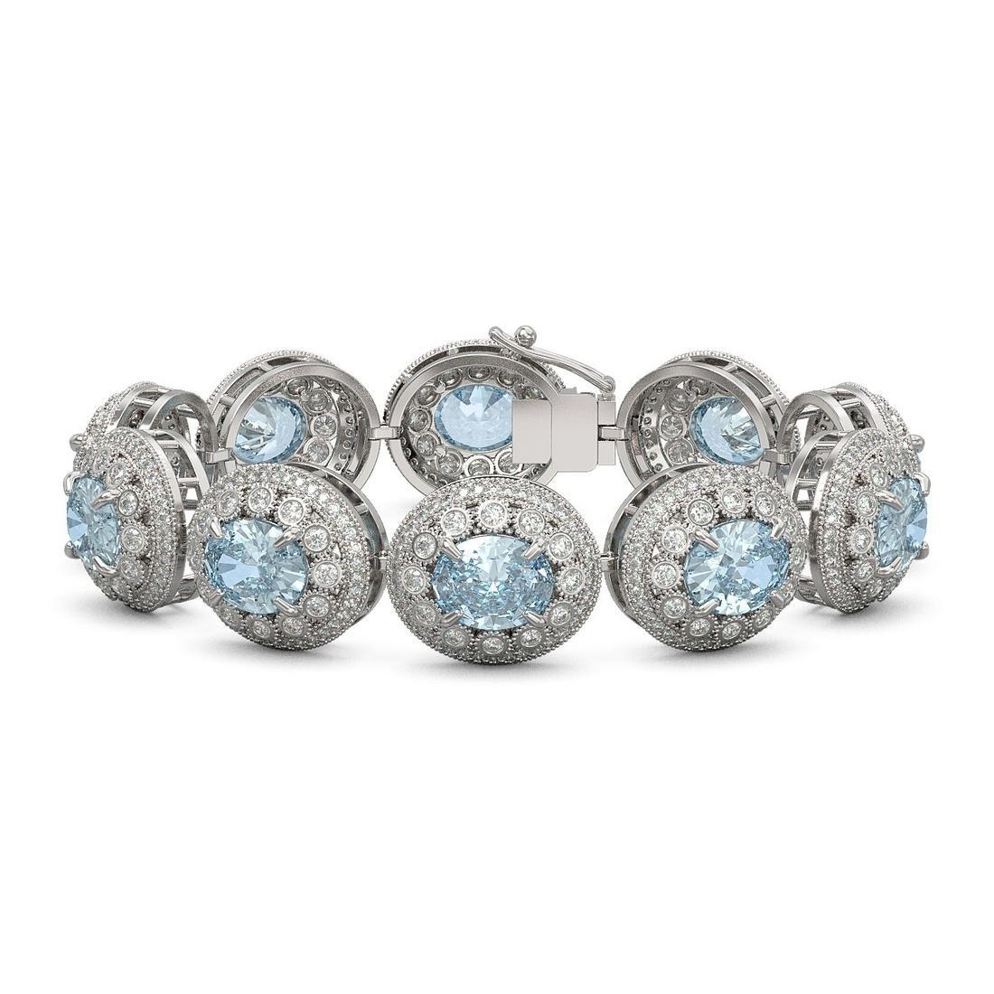 39.82 ctw Aquamarine & Diamond Bracelet 14K White Gold