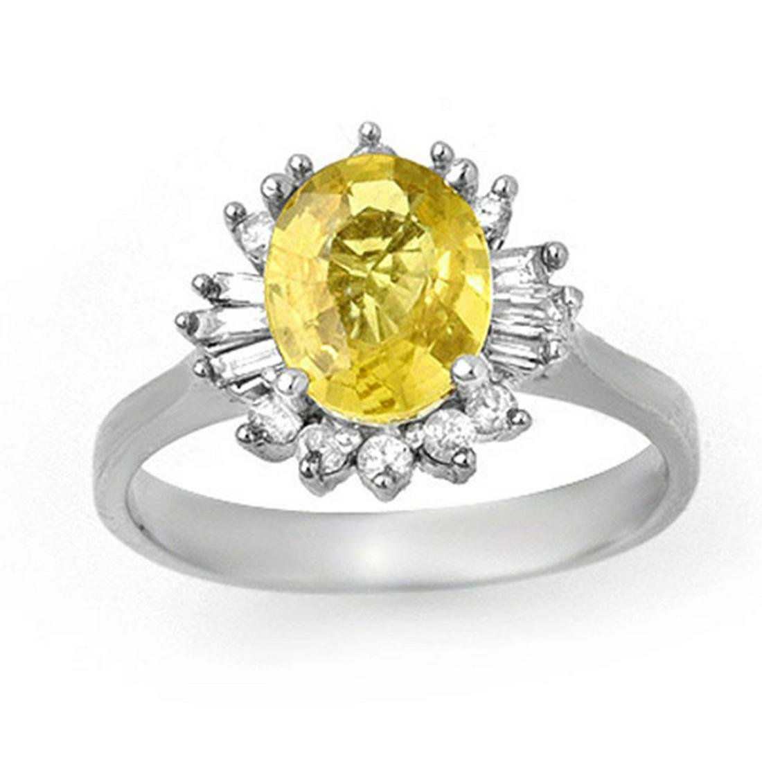 2.25 ctw Blue Sapphire & Diamond Ring 14K White Gold