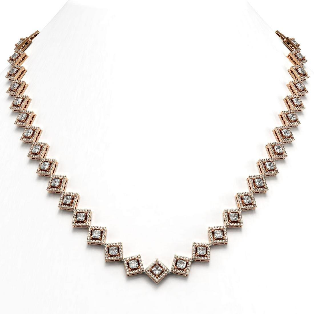 19.27 ctw Princess Diamond Necklace 18K Rose Gold
