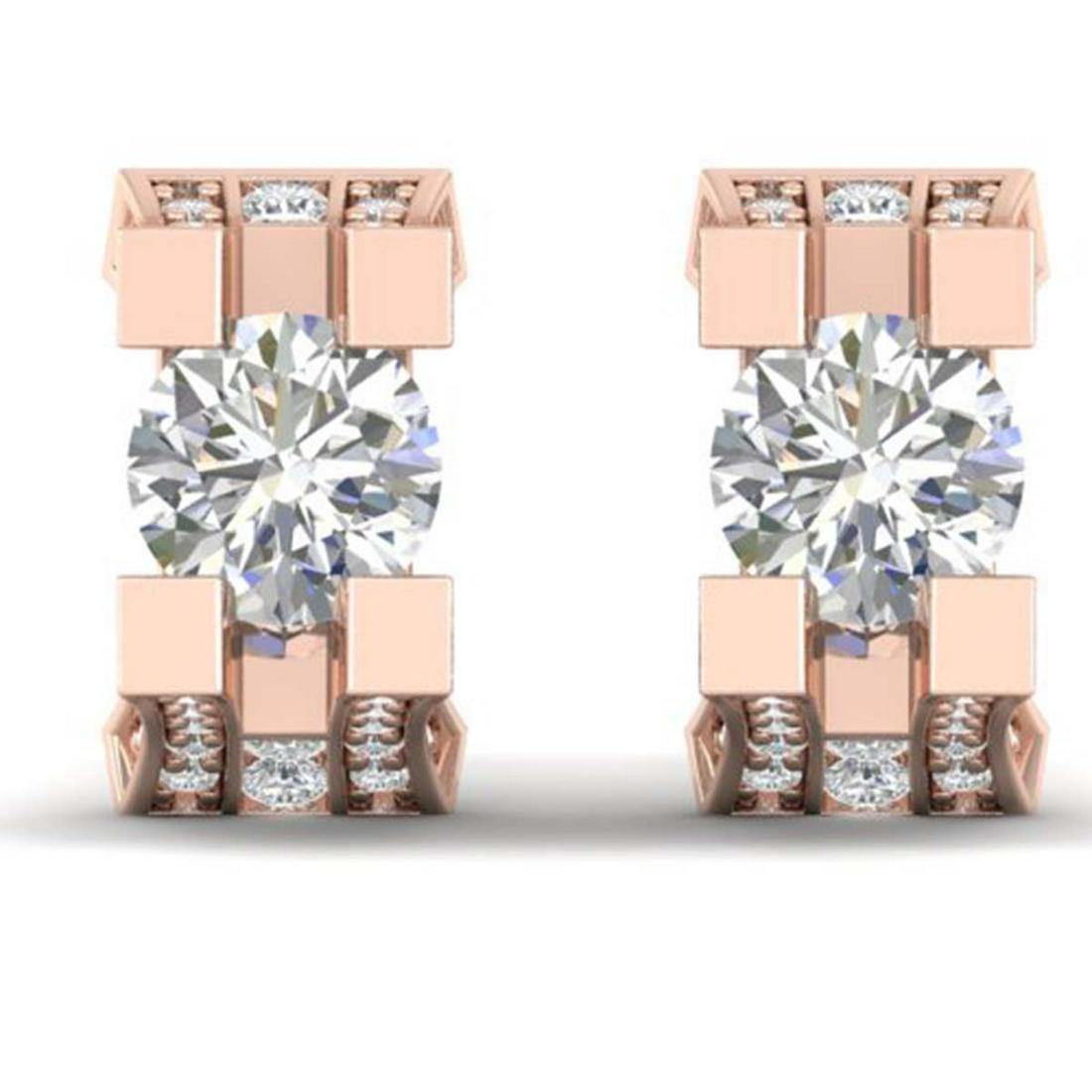 2.25 ctw VS/SI Diamond Art Deco Stud Earrings 14K Rose