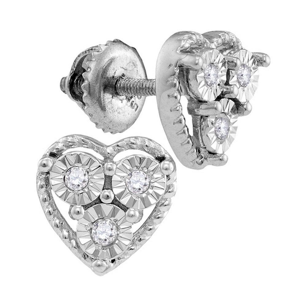 Sterling Silver Round Diamond Heart Frame Stud Earrings