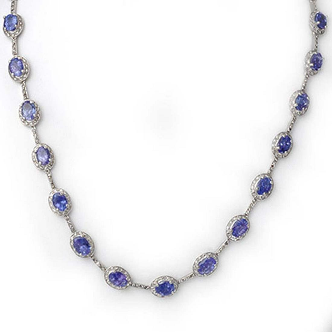 25.0 ctw Tanzanite & Diamond Necklace 10K White Gold