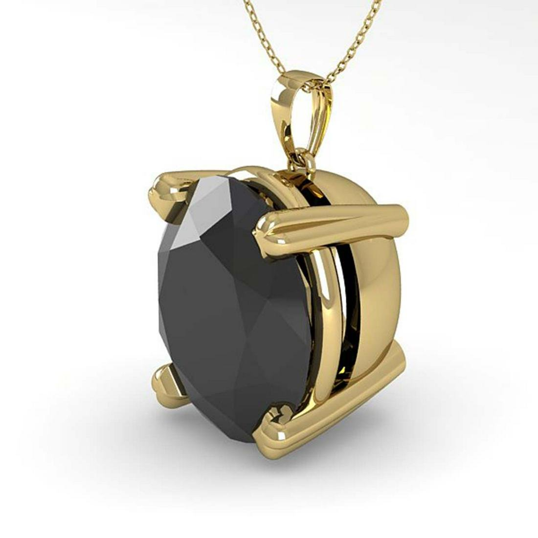 9.0 ctw Oval Black Diamond Necklace 18K Yellow Gold