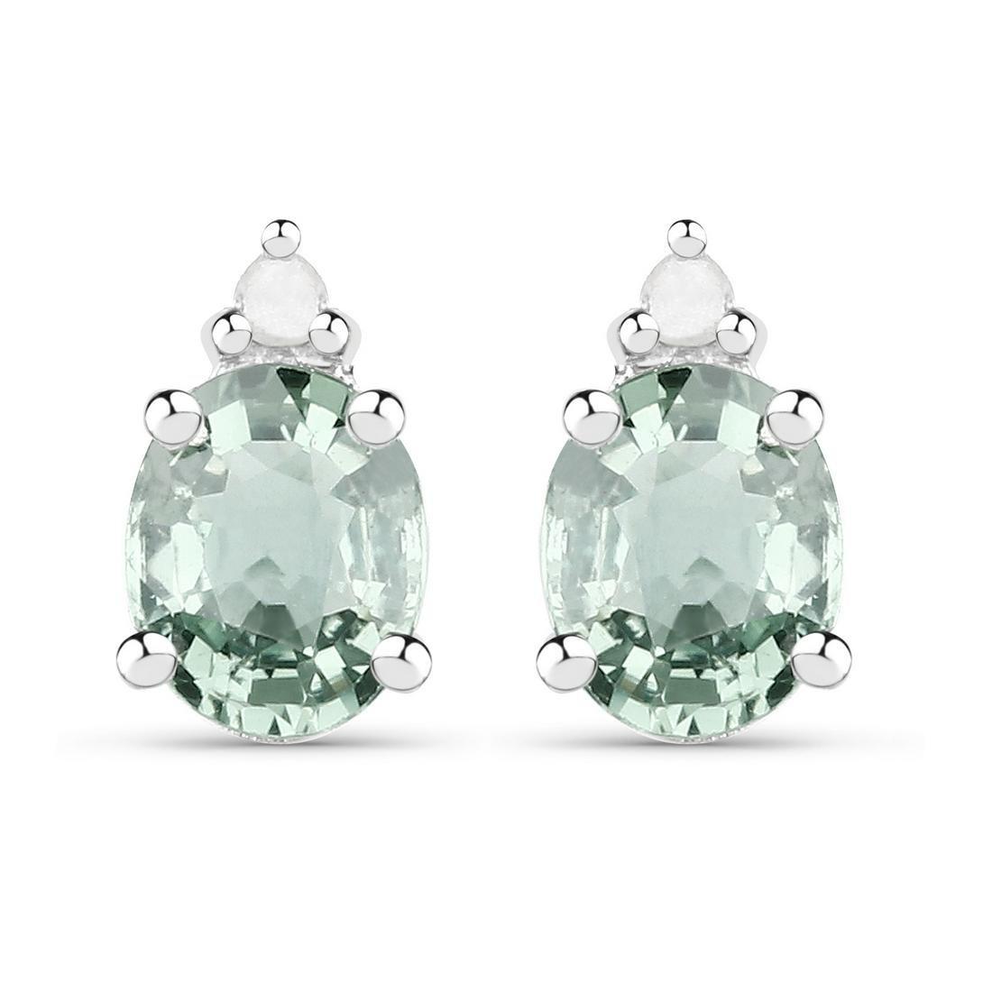 0.64 ctw Genuine Green Sapphire and White Diamond .925